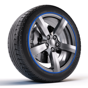 Blue Zalloys Wheel Protectors on Alloy Wheel